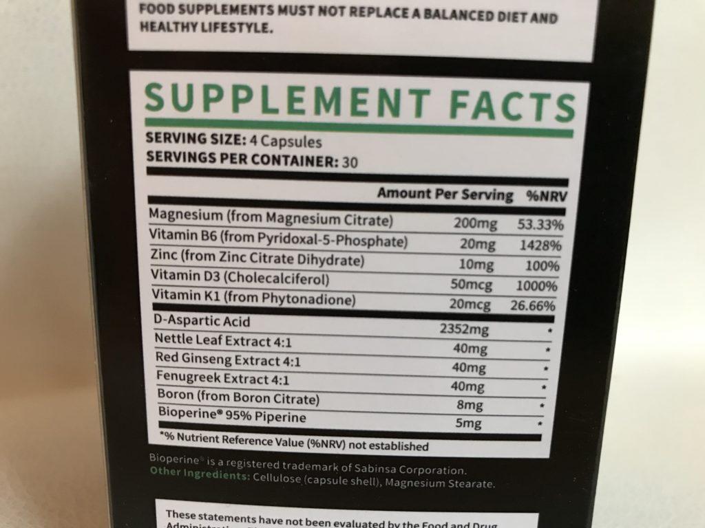 testogen ingredient label